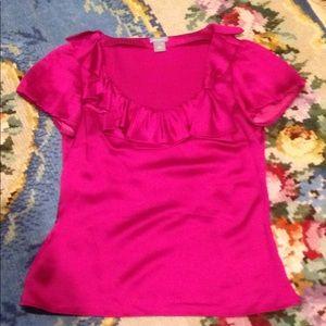 Ann Taylor silk shirt top bow blouse 4